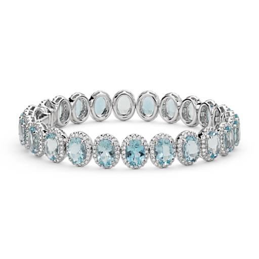 Aquamarine and Diamond Halo Bracelet in 18k White Gold (7x5mm)