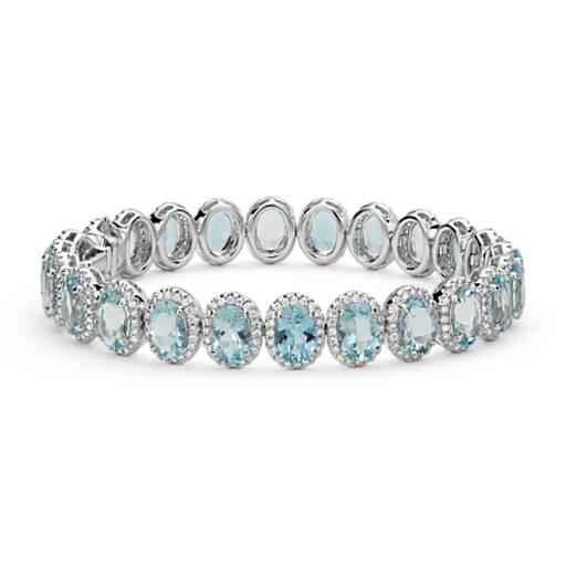 Bague halo diamant et aigue-marine en or blanc 18carats (7x5mm)