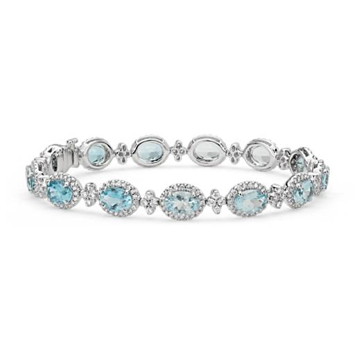 NEW Oval Aquamarine and Pavé Diamond Halo Bracelet in 18k White Gold (7x5mm)