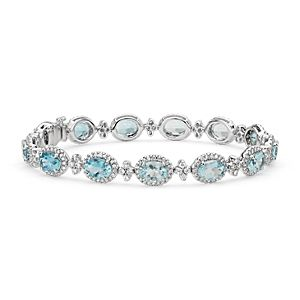 Bracelet halo de diamants sertis pavé et aigue-marine ovale en or blanc 18 carats (7 x 5 mm)