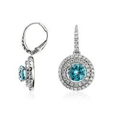 Pendants d'Oreille Double Halo Diamant et Aigue-Marine en Or blanc 18 ct