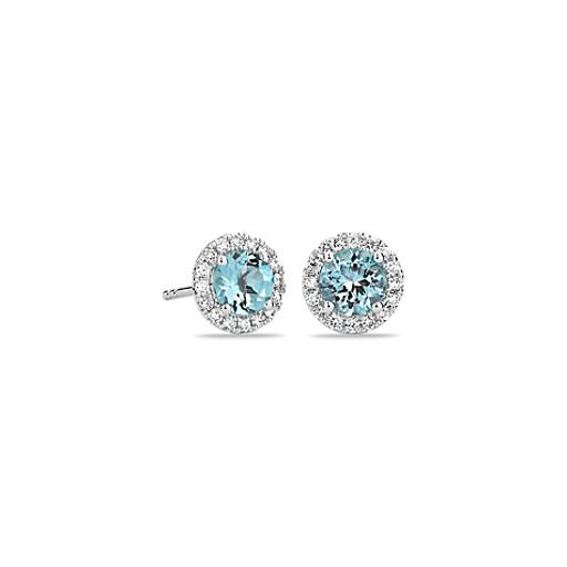 Aquamarine and Micropavé Diamond Earrings in 18k White Gold (5mm)