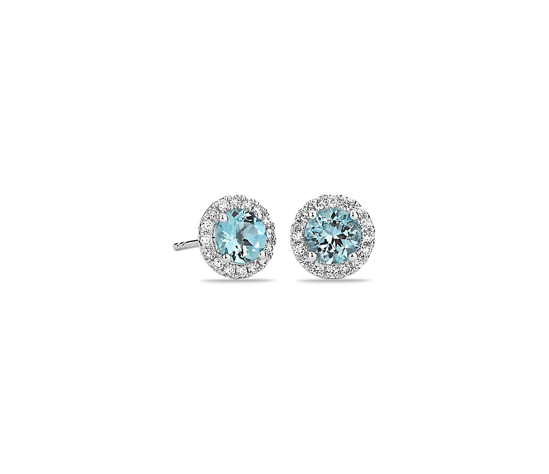Aquamarine and Micropave Diamond Earrings in 18k White Gold (5mm)