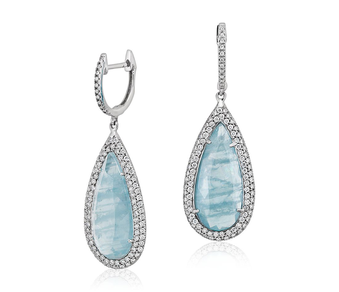 Aquamarine and Micropave Diamond Drop Earrings in 18k White Gold