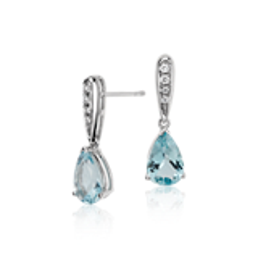 Aquamarine and Diamond Pear Drop Earrings in 14k White Gold (9x6mm)