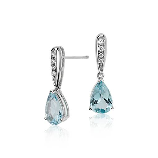 Pendants d'oreille diamant halo et aigue-marine taille poire en or blanc 14 carats (9 x 6 mm)