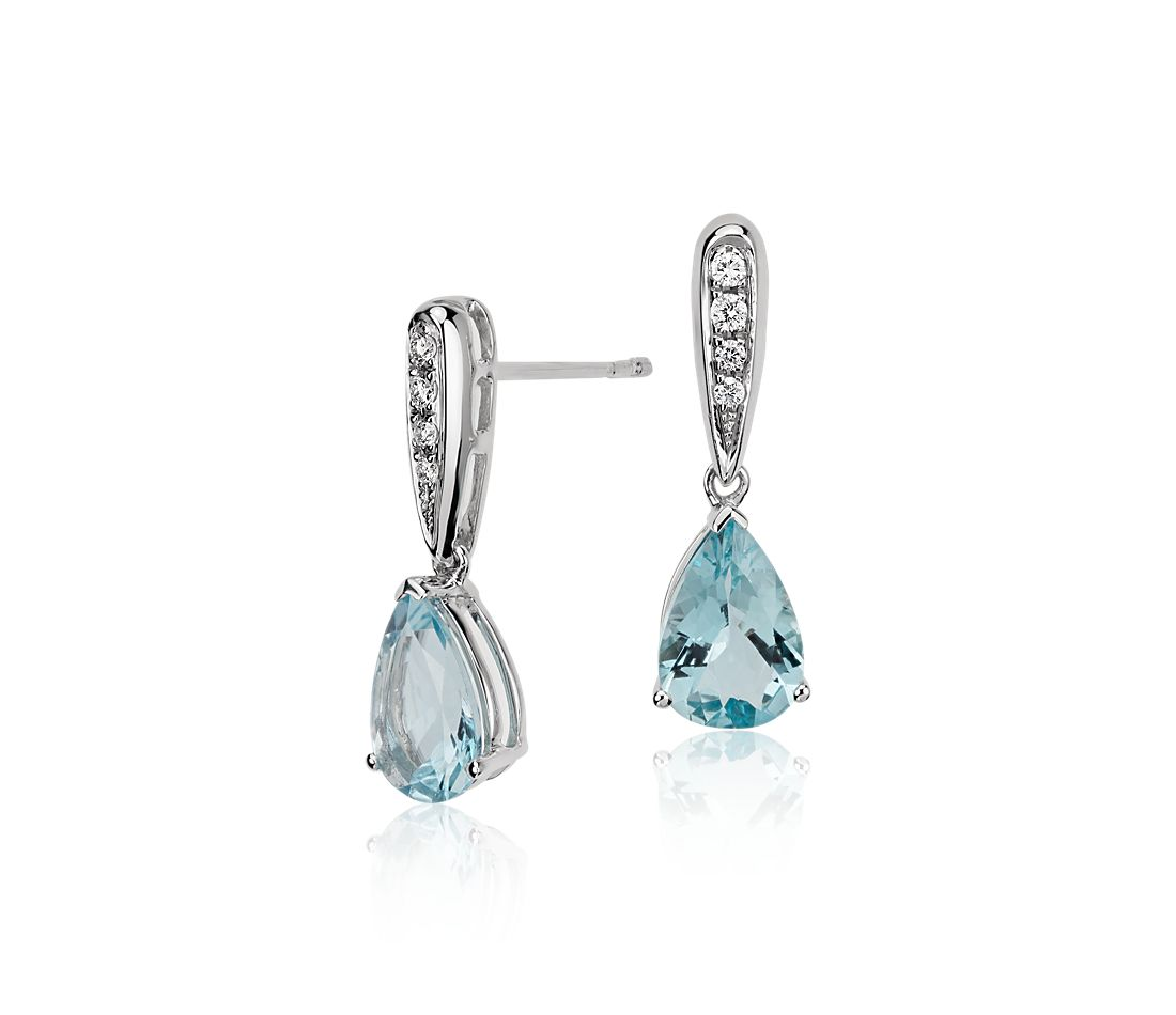 Aquamarine and Diamond Pear Drop Earrings in 14k White Gold