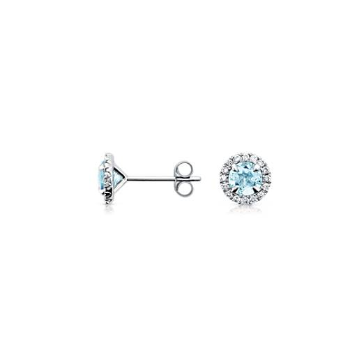 Boucles d'oreilles diamants sertis micro-pavé et aigue-marine en or blanc 18 carats (5 mm)