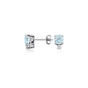 Puces d'oreilles diamant et aigue-marine en or blanc 18 carats (5 mm)
