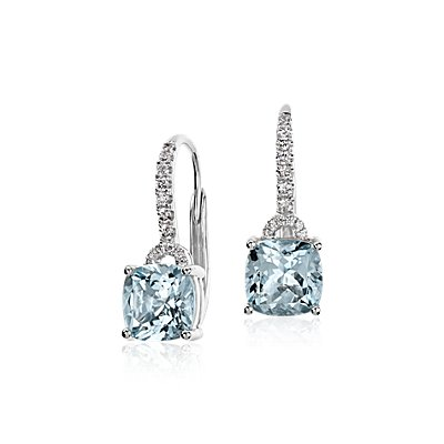 NEW Aquamarine Cushion and Diamond Drop Earrings in 14k White Gold (7x7mm)