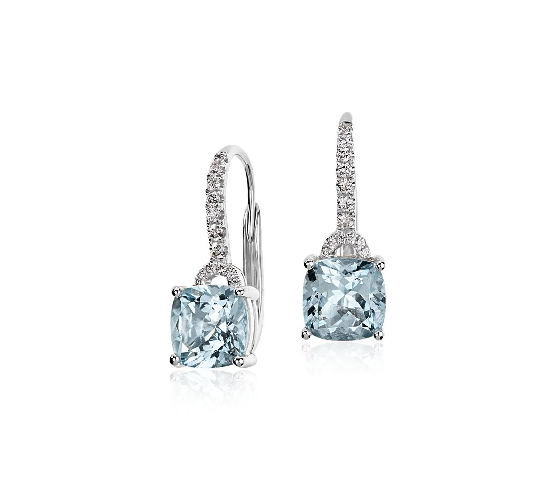 Aquamarine Cushion and Diamond Drop Earrings in 14k White Gold (7x7mm)