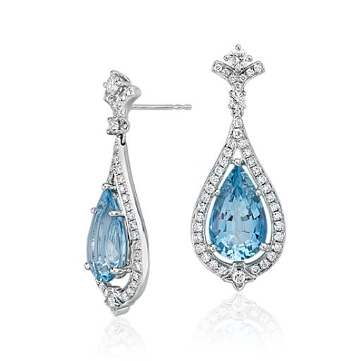 NEW Pear-Shape Aquamarine and Diamond Halo Drop Earrings in 18k White Gold (6.68 ct. tw. center)