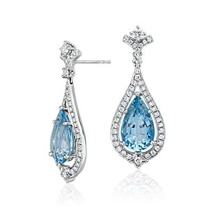 Pear-Shape Aquamarine and Diamond Halo Drop Earrings in 18k White Gold (6.68 ct. tw. center)