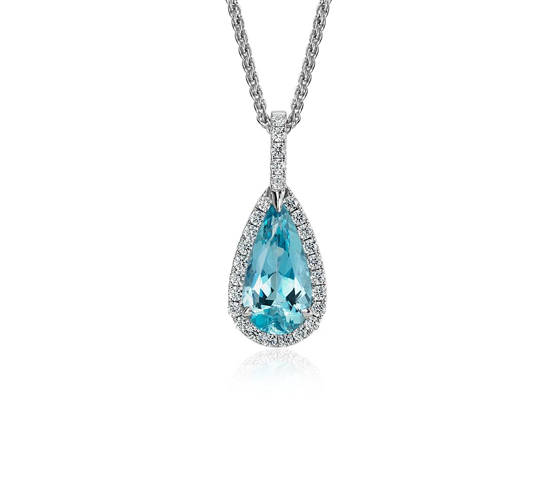 18k WG Pear Shaped Aquamarine and Diamond Pave Halo Pendant (2.73 cts)