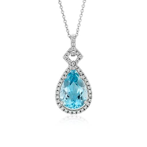 Pear Shaped Aquamarine and Diamond Halo Pendant in 18k White Gold (3.65 ct. center)