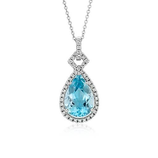 Colgante en forma de gota con halo de diamante y aguamarina con forma de pera en oro blanco de 18k (piedra central de 3.65 qt)