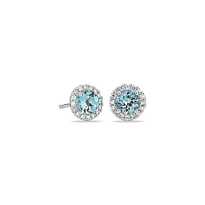 Puces d'oreilles en diamants sertis micro-pavé et aigue-marine en or blanc 18 carats (5 mm)