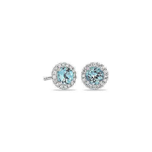 Puces d'oreilles en diamants sertis micro-pavé et aigue-marine en or blanc 18carats (5mm)