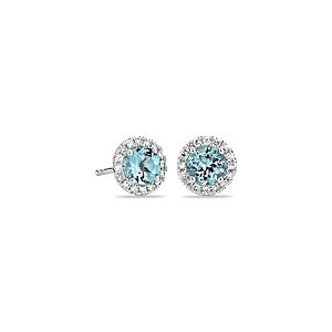 Aquamarine and Micropavé Diamond Stud Earrings in 18k White Gold (5mm)