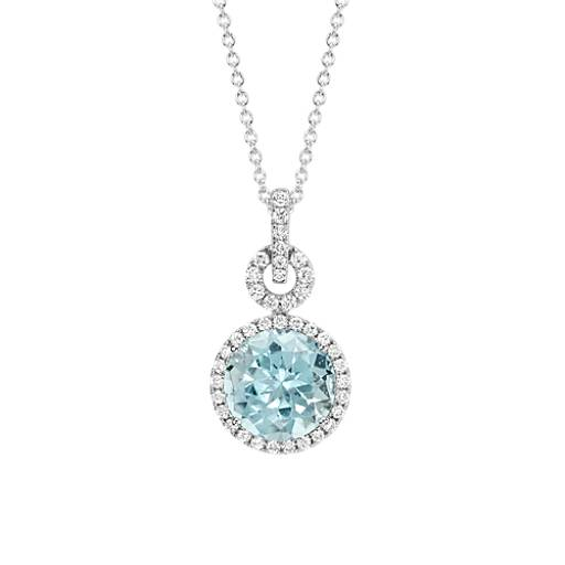 Aquamarine and Diamond Halo Pendant in 18k White Gold (10 mm)