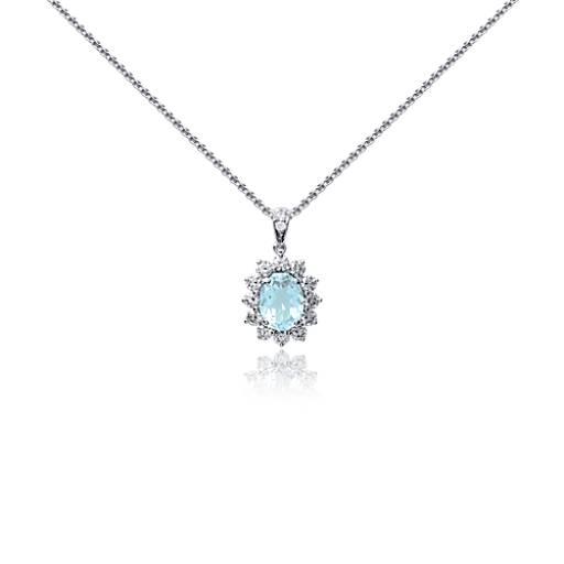 Pendentif diamant et aigue-marine en or blanc 18carats (8x6mm)
