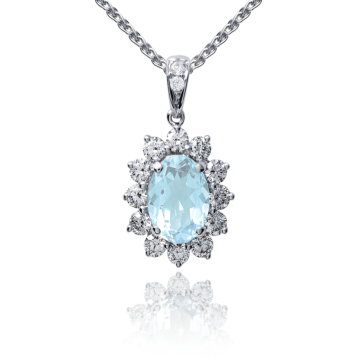 Colgante de diamantes y aguamarina en oro blanco de 18k (8x6mm)