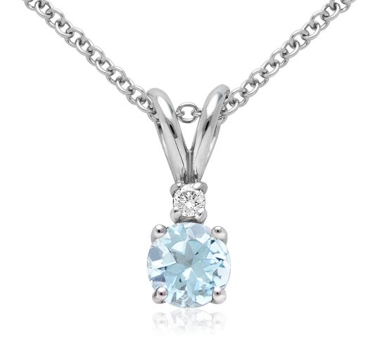 Pendentif solitaire diamant et aigue-marine en or blanc 18carats (5mm)