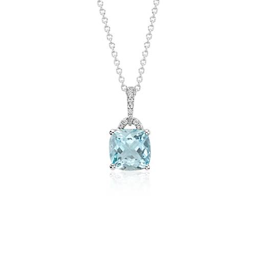 Pendentif aigue-marine et diamant diamant en or blanc 14carats (8x8mm)