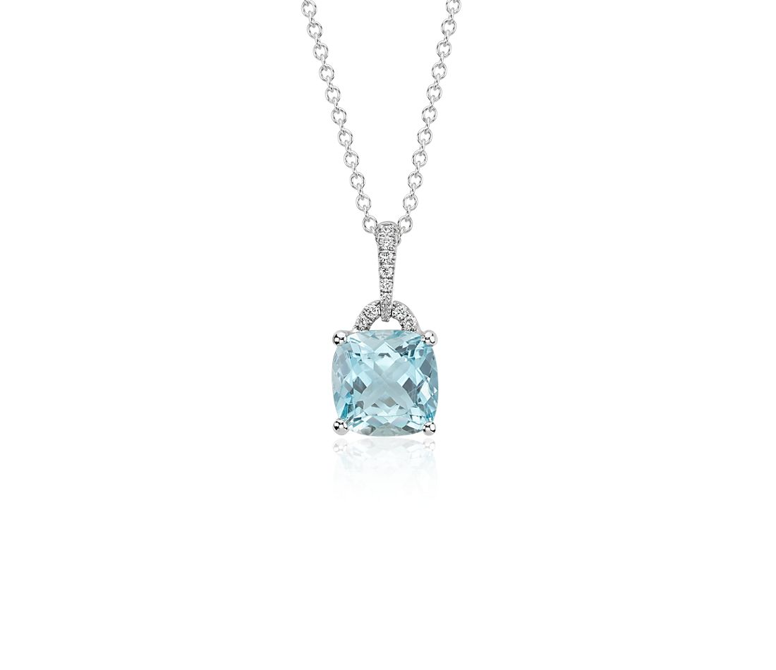 Aquamarine Cushion and Diamond Pendant in 14k White Gold ...