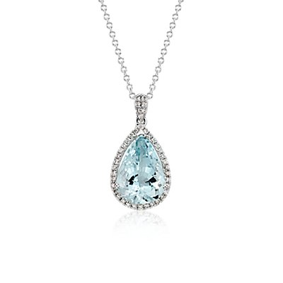 Aquamarine and Diamond Halo Pendant in 14k White Gold (13x9mm)