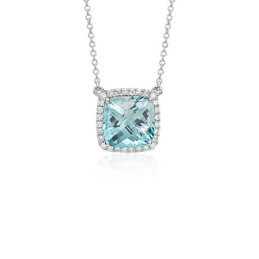 Aquamarine Cushion and Diamond Necklace in 18k White Gold (10x10 mm)