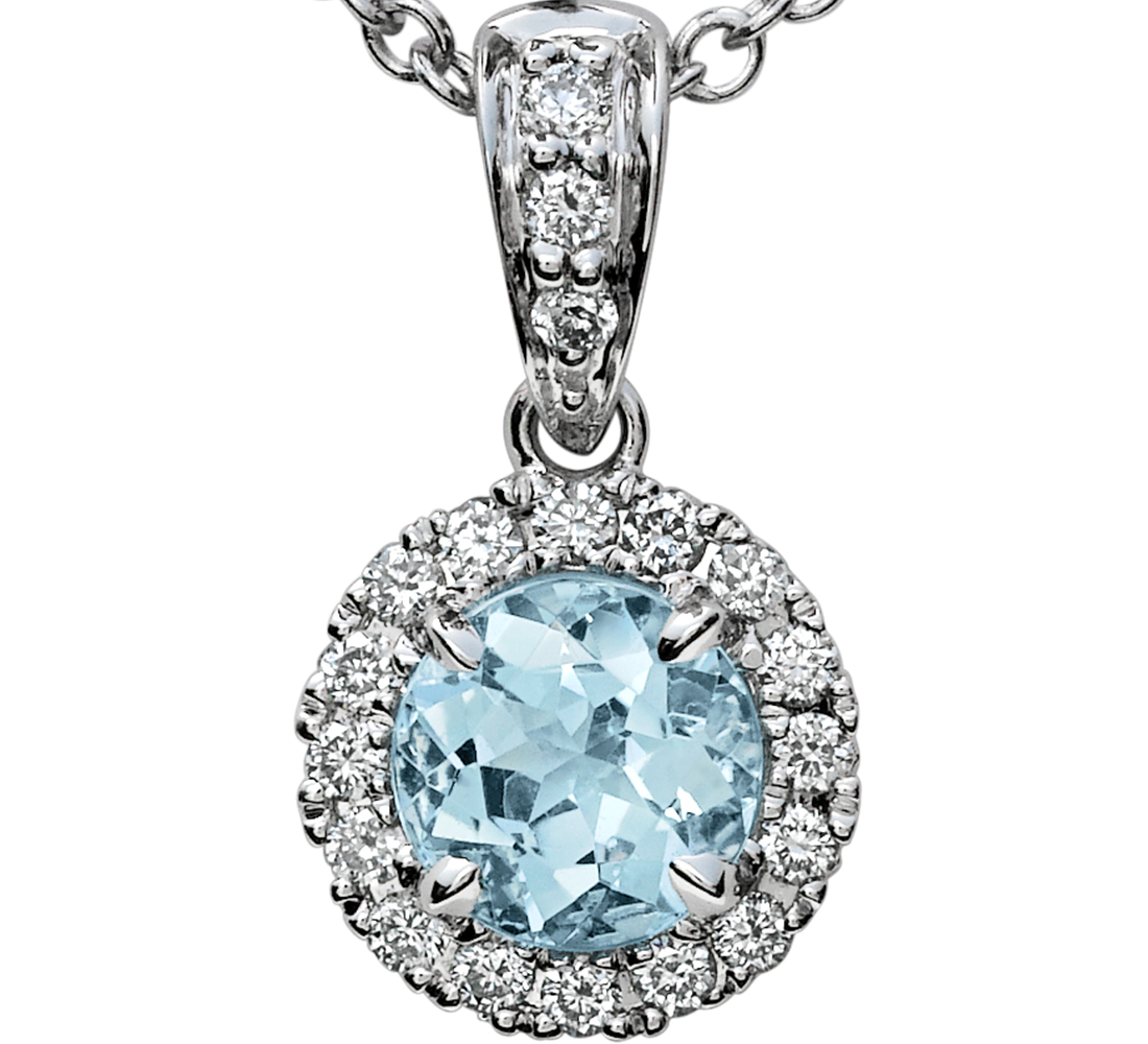 Aquamarine and Micropavé Diamond Halo Pendant in 18k White Gold (5mm)