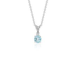Colgante con solitario de diamante y aguamarina en oro blanco de 18 k (5mm)