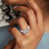 Bague diamant et aigue-marine en or blanc 18 carats (8 x 6 mm)