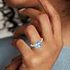 Bague halo diamant et aigue-marine en or blanc 14 carats (8x8 mm)