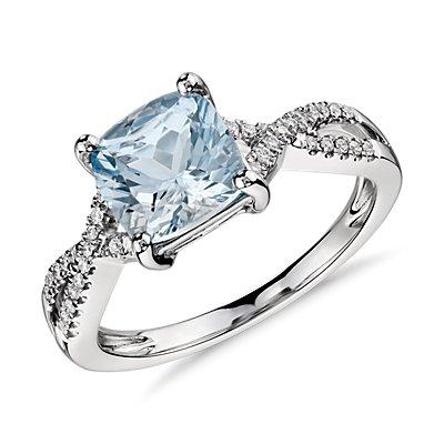Bague torsadée infinité diamant et aigue-marine en or blanc 14carats (7x7mm)