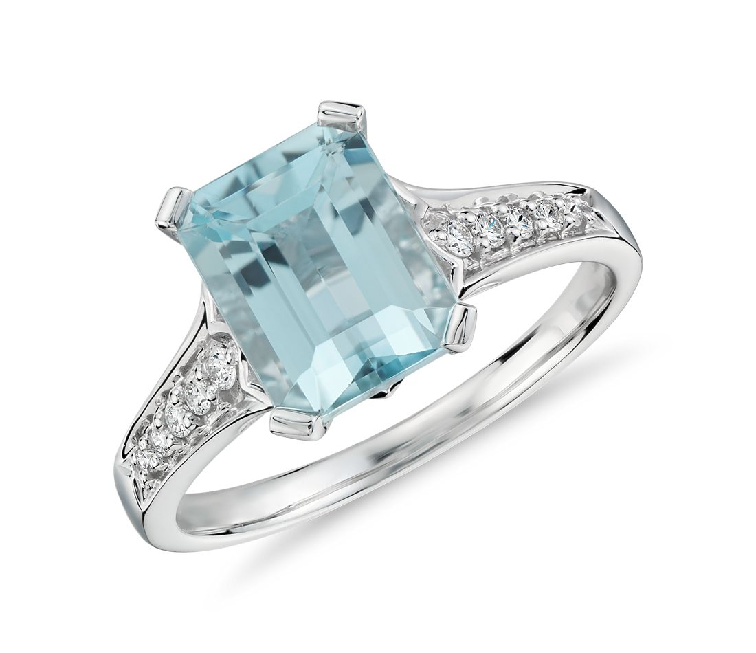 aquamarine and ring in 14k white gold 9x7mm