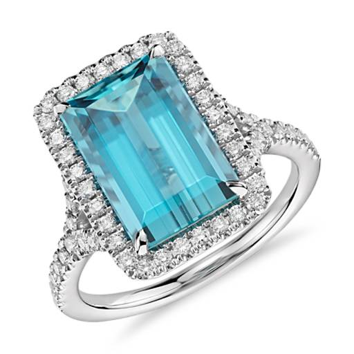 Aquamarine with Diamond Halo Ring in 18k White Gold (3.90 ct. center)