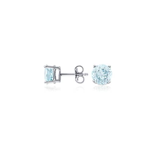 Aquamarine Stud Earrings in 18k White Gold (7mm)