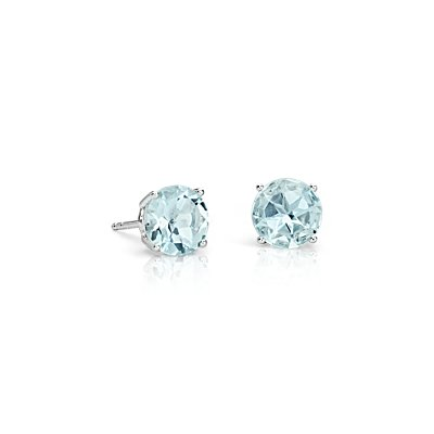 NEW Aquamarine Stud Earrings in 14k White Gold (7mm)