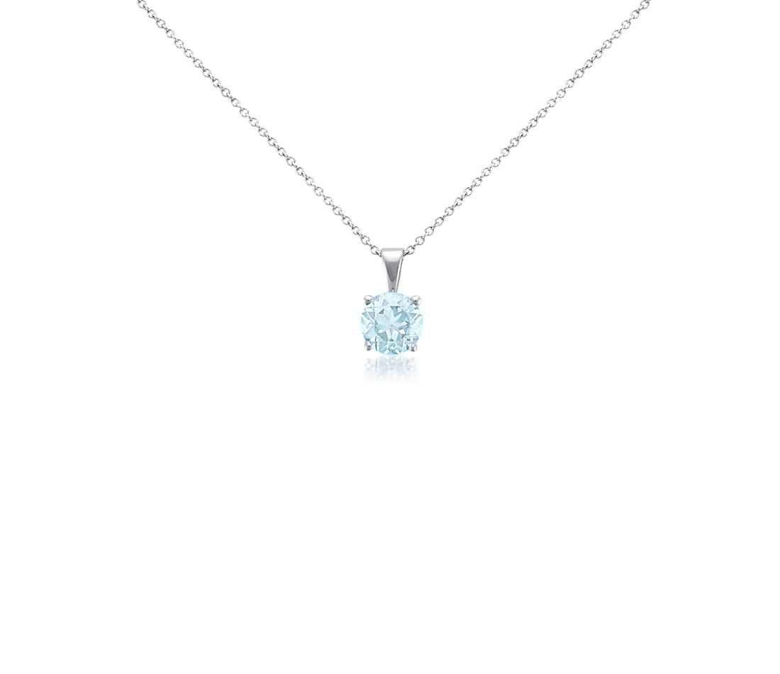 Aquamarine Solitaire Pendant in 18k White Gold (7mm)