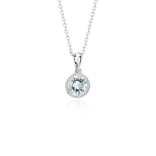 NEW Aquamarine Rope Pendant in Sterling Silver (7mm)
