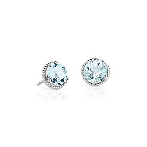 NEW Aquamarine Rope Stud Earrings in Sterling Silver (7mm)