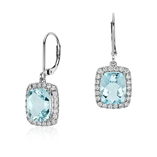 Cushion Cut Aquamarine and Diamond Drop Earring in 18k White Gold (10x8mm)