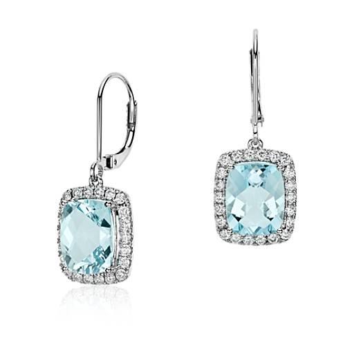 Pendants d'oreilles diamant et aigue-marine taille coussin en or blanc 18carats (10x8mm)