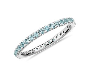 Aquamarine Eternity Ring in 18k White Gold