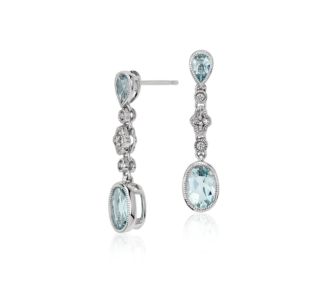 Aquamarine and White Sapphire Earrings in 14k White Gold (7x5mm)