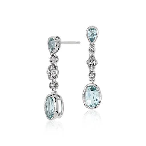 14k 白金海藍寶石與白寶石吊式耳環( 7x5毫米)