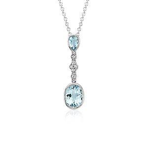 Aquamarine and White Sapphire Pendant in 14k White Gold (9x7mm)
