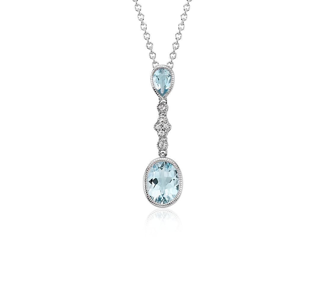 Aquamarine and White Sapphire Pendant in 14k White Gold